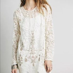 Free People $168 lace embroidered tunic boho top S